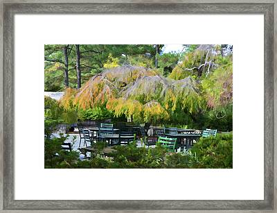 Relaxing Ambiance Outdoor Space At The Norfolk Botanical Garden Cafe Framed Print