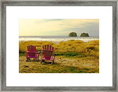 Relaxing At Rockaway Beach And Twin Rocks Framed Print by Margaret Hood