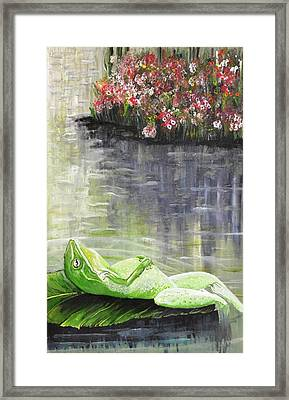Relaxing Frog In A Sunny Pond Framed Print