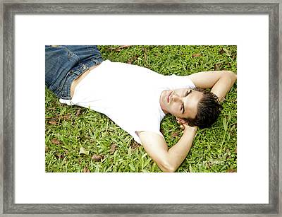 Relaxing In The Grass Framed Print by Kicka Witte - Printscapes