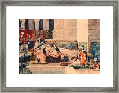 Relaxing In The Harem Framed Print by Juan Gimenez