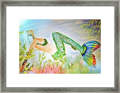 Mermaid Relaxing In The Shallows Framed Print