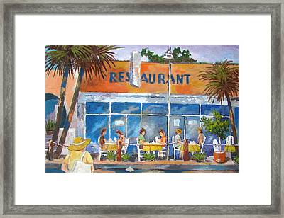 Framed Print featuring the painting Relaxing Outdoors by Tony Caviston