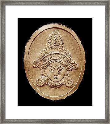 Relief Drawing Of Goddess Durga Devi  Framed Print by Suhas Tavkar