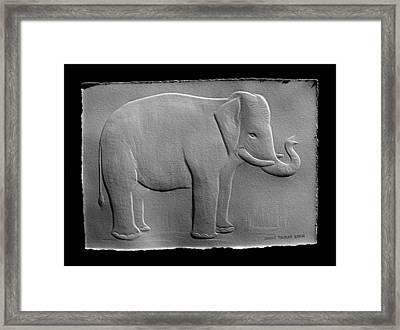 Relief Elephant Drawing Framed Print by Suhas Tavkar
