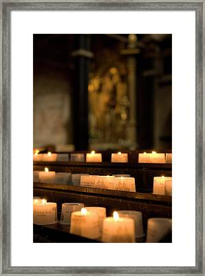 Framed Print featuring the photograph Religion - Candlelight - Cathedral Of Trier - Christian Church In Antiquity by Urft Valley Art