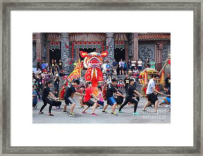 Framed Print featuring the photograph Religious Martial Arts Performance In Taiwan by Yali Shi