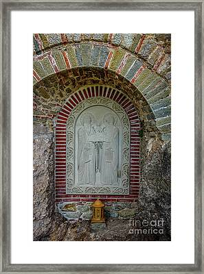 Religious Stone Relief On A Monastery At Meteora, Greece Framed Print