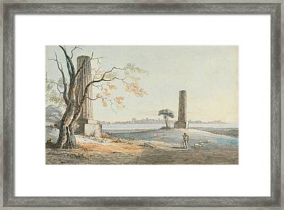 Remains Of The Temple Of Olympian Jove With A View Of Ortygia Syracuse Framed Print