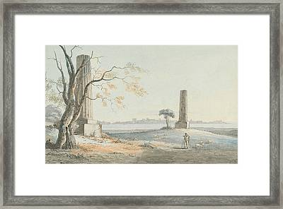 Remains Of The Temple Of Olypian Jove With A View Of Ortygia, Syracuse Framed Print