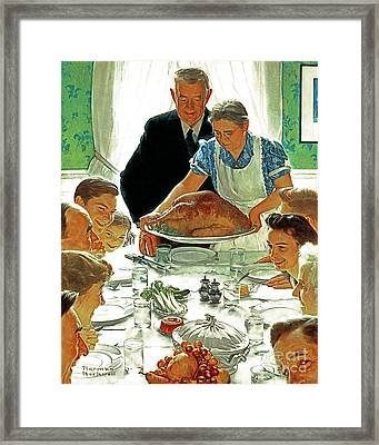 Framed Print featuring the photograph Remastered Art Freedom From Want By Norman Rockwell 20170409 by Wingsdomain Art and Photography