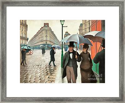 Remastered Gustave Caillebotte Paris Street Rainy Day 20170408 Framed Print by Wingsdomain Art and Photography