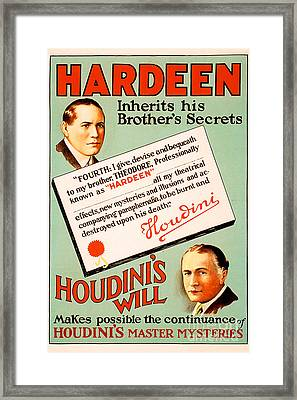 Framed Print featuring the photograph Remastered Nostagic Vintage Poster Art Hardeen Inherits Houdinis Secrets 20170416 by Wingsdomain Art and Photography
