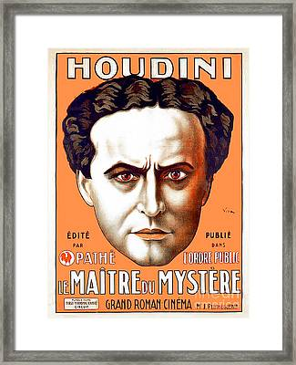 Framed Print featuring the photograph Remastered Nostagic Vintage Poster Art Houdini Master Of Mystery by Wingsdomain Art and Photography