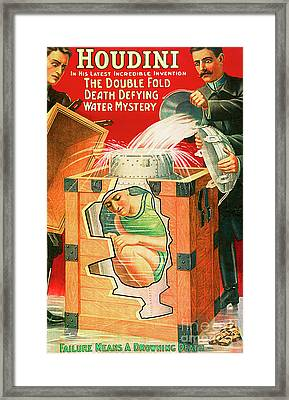 Framed Print featuring the photograph Remastered Nostagic Vintage Poster Art Houdini The Double Fold Death Defying Water Mystery 20170415 by Wingsdomain Art and Photography