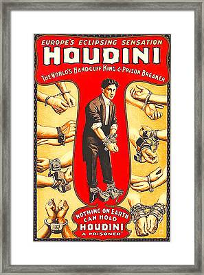 Framed Print featuring the photograph Remastered Nostagic Vintage Poster Art Houdini The Worlds Handcuff King 20170415 by Wingsdomain Art and Photography