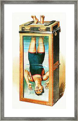Framed Print featuring the photograph Remastered Nostagic Vintage Poster Art Houdini Water Filled Torture Cell 20170415 Notext by Wingsdomain Art and Photography