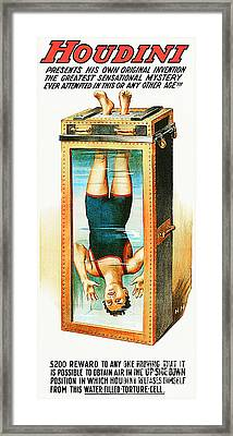 Framed Print featuring the photograph Remastered Nostagic Vintage Poster Art Houdini Water Filled Torture Cell 20170415 by Wingsdomain Art and Photography
