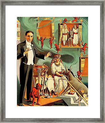 Framed Print featuring the photograph Remastered Nostagic Vintage Poster Art Thurston The Great Magici by Wingsdomain Art and Photography