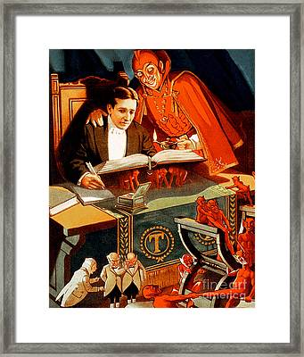 Framed Print featuring the photograph Remastered Nostagic Vintage Poster Art Thurston The Great Magician 20170415 No Text by Wingsdomain Art and Photography