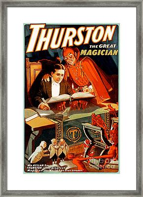 Framed Print featuring the photograph Remastered Nostagic Vintage Poster Art Thurston The Great Magician 20170415 by Wingsdomain Art and Photography