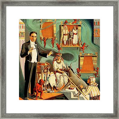 Framed Print featuring the photograph Remastered Nostagic Vintage Poster Art Thurston The Great Magician Balaam And His Donkey 20170415 V2 by Wingsdomain Art and Photography