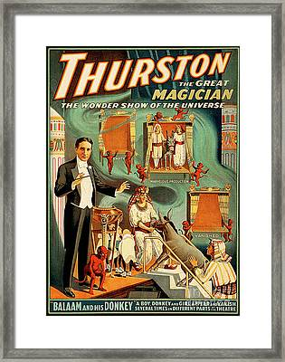 Framed Print featuring the photograph Remastered Nostagic Vintage Poster Art Thurston The Great Magician Balaam And His Donkey 20170415 by Wingsdomain Art and Photography