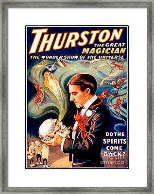 Framed Print featuring the photograph Remastered Nostagic Vintage Poster Art Thurston The Great Magician Do The Spirits Come Back 20170415 by Wingsdomain Art and Photography
