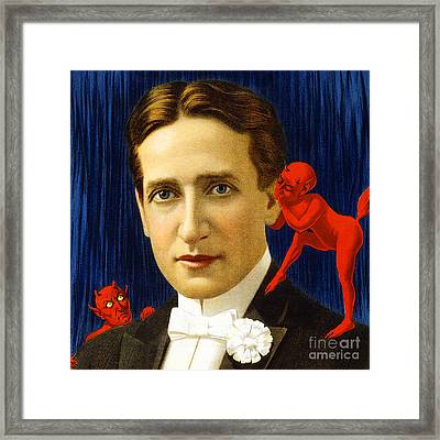 Framed Print featuring the photograph Remastered Nostagic Vintage Poster Art Thurston The Great Magician Wonder Show 20170415 Square by Wingsdomain Art and Photography