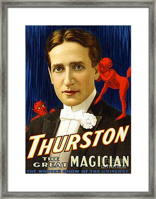 Framed Print featuring the photograph Remastered Nostagic Vintage Poster Art Thurston The Great Magician Wonder Show 20170415  by Wingsdomain Art and Photography