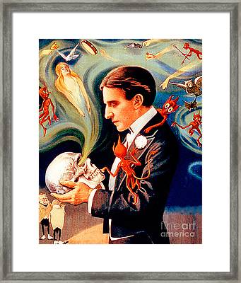 Framed Print featuring the photograph Remastered Nostagic Vintage Poster Thurston The Great Magician Do The Spirits Come Back 20170415 V2 by Wingsdomain Art and Photography