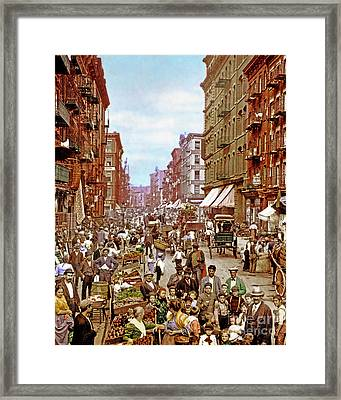 Remastered Photograph Mulberry Street Manhatten New York City 1900 20170716 Vertical Cut Framed Print