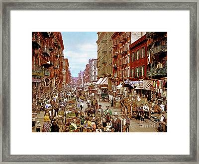 Remastered Photograph Mulberry Street Manhatten New York City 1900 20170716 Framed Print