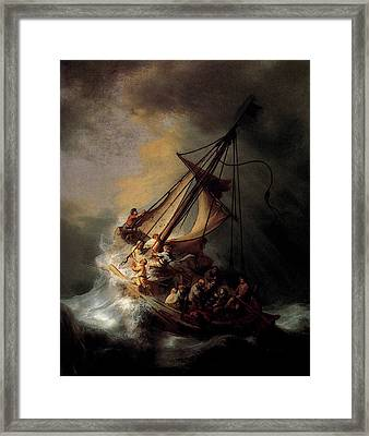 Rembrandt Christ In The Storm On The Sea Of Galilee Framed Print