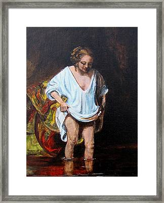 Rembrandts Woman Bathing Framed Print by Pauline Ross