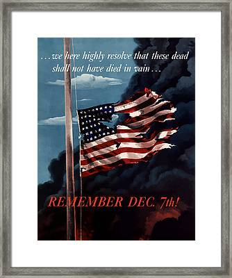 Remember December Seventh Framed Print by War Is Hell Store