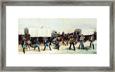 Remington Frederic Attack On The Supply Train Framed Print