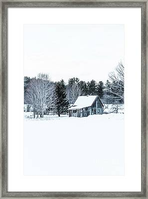 Remote Cabin In Winter Framed Print by Edward Fielding