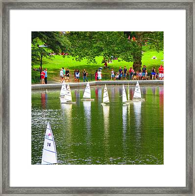 Remote Controlled Toy Sail Boats At Central Park New York Usa America Photo By Navinjoshi Fineartame Framed Print by Navin Joshi