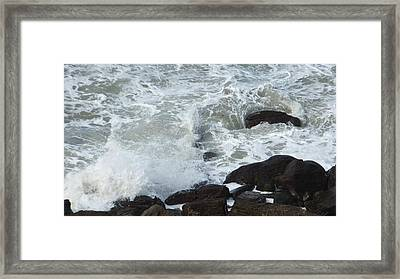 Framed Print featuring the photograph Remous Sur Falaise by Marc Philippe Joly