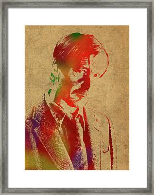 Remus Lupin From Harry Potter Watercolor Portrait Framed Print