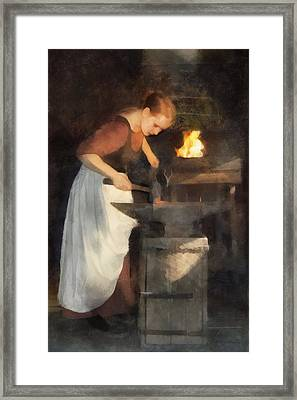 Renaissance Lady Blacksmith Framed Print by Francesa Miller