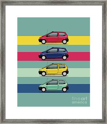 Renault Twingo 90s Colors Quartet Framed Print by Monkey Crisis On Mars