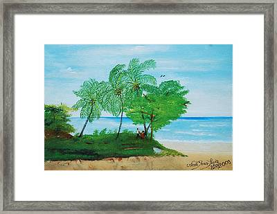 Framed Print featuring the painting Rendez-vous By The Beach by Nicole Jean-Louis