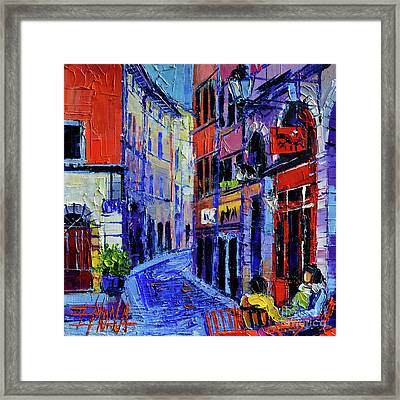 Rendez Vous In Vieux Lyon Framed Print by Mona Edulesco