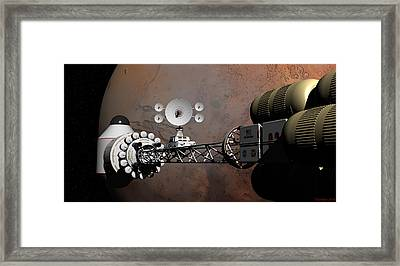Framed Print featuring the digital art Rendezvous At Mars by David Robinson