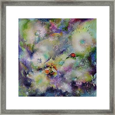Rendezvous, Ladybug And Bumble-bee On Dandelions  Framed Print