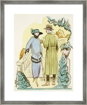 Rendezvous, Outfit And Ulster Overcoat  Framed Print