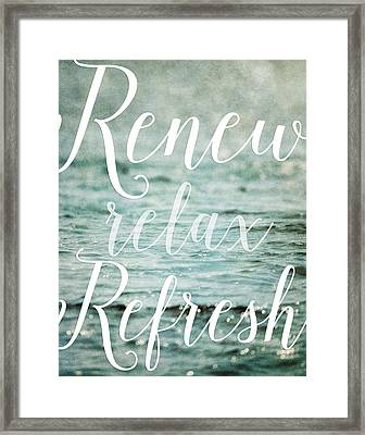 Renew Relax Refresh Bathroom Decor Framed Print