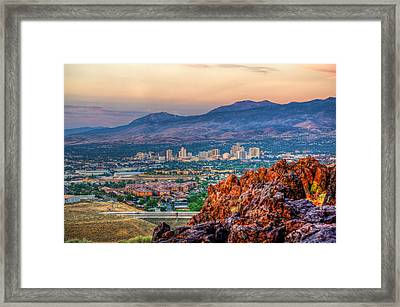 Reno Nevada Cityscape At Sunrise Framed Print by Scott McGuire